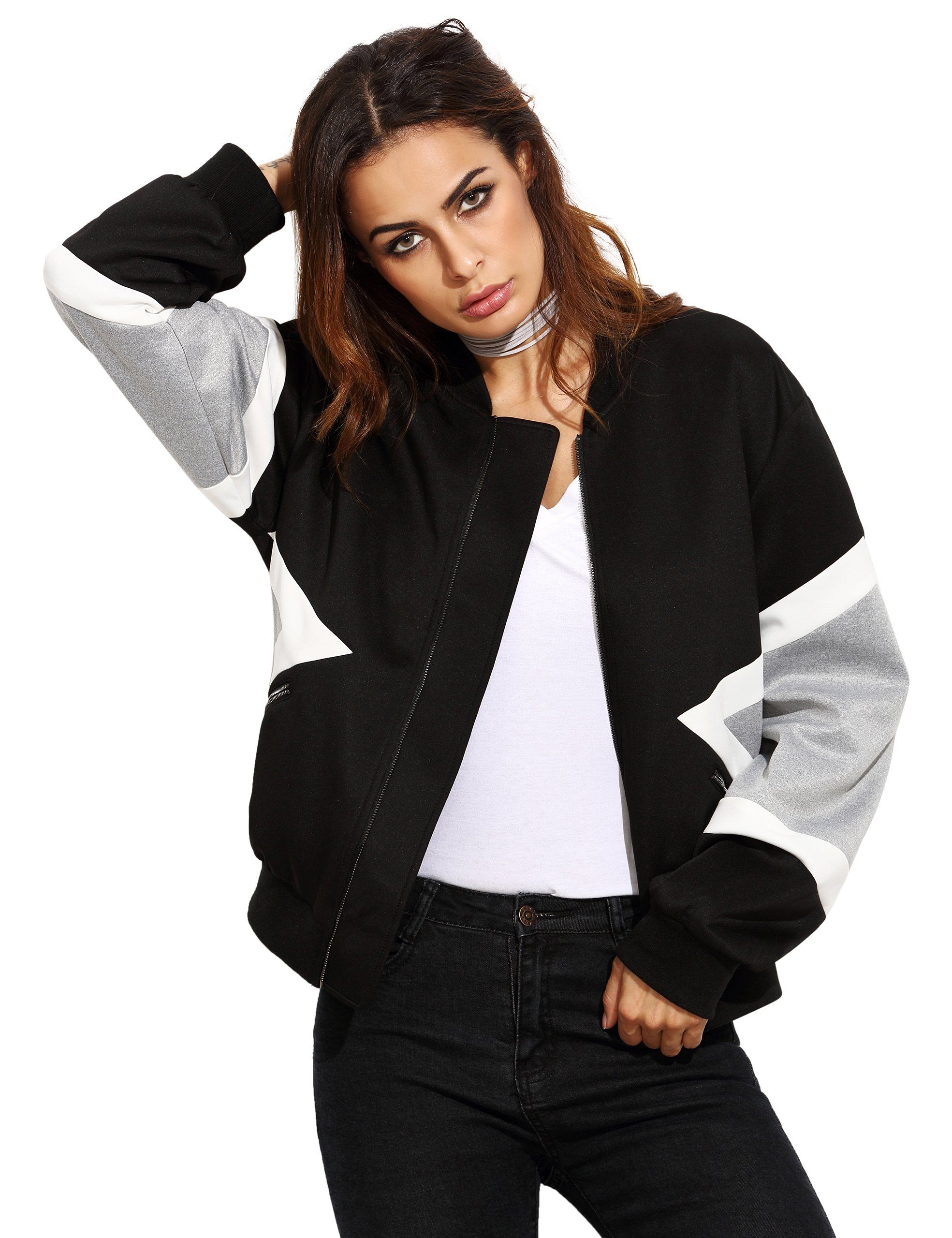 SheIn Women's Casual Long Sleeve Colorblock Track Top Zipper-Front Bomber Jacket Small Black