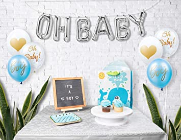 OH BABY PRINTED BLUE CONFETTI BALLOONS ABOUT TO POP // Baby Shower Decoration