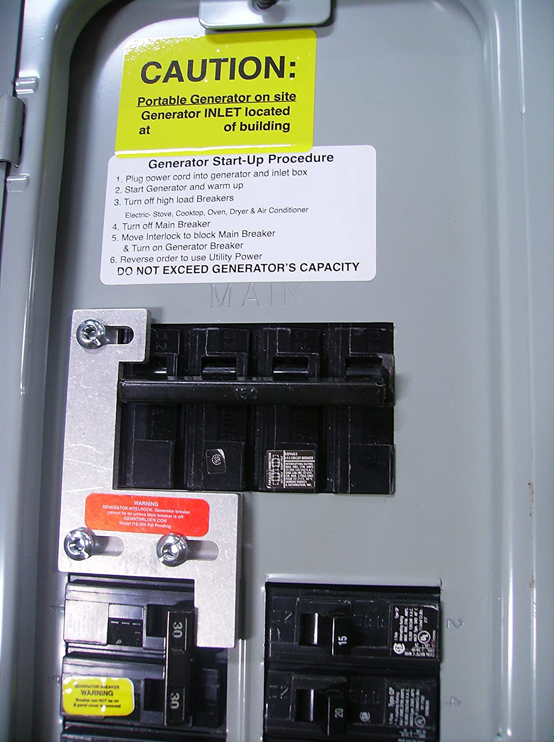 Ite 200a Gould Murray Siemens Or Thomas Betts Generator Installation With A Pb30 Inlet On Cutler Hammer Main Circuit Breaker Interlock Kit 150 Amp 200 Panels
