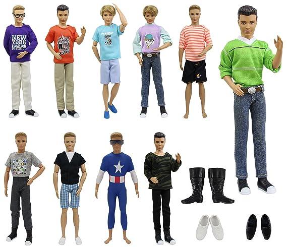 9d5175f7 Amazon.es: ZITA ELEMENT Ken Barbie Ropa 13 Piezas = 10 Conjunto Moda Casual  Viste Hermosa Formal Ropa Uniforme + 3 Pares Zapatos para Barbie Novio Ken  ...
