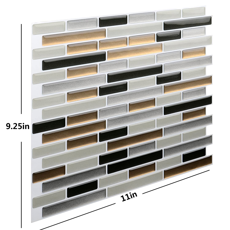 Vamos Tile - Panel de azulejos antisalpicaduras y antimoho de gama alta, lámina autoadhesiva de azulejos para cocina y baño, solo hay que pelar y pegar, ...