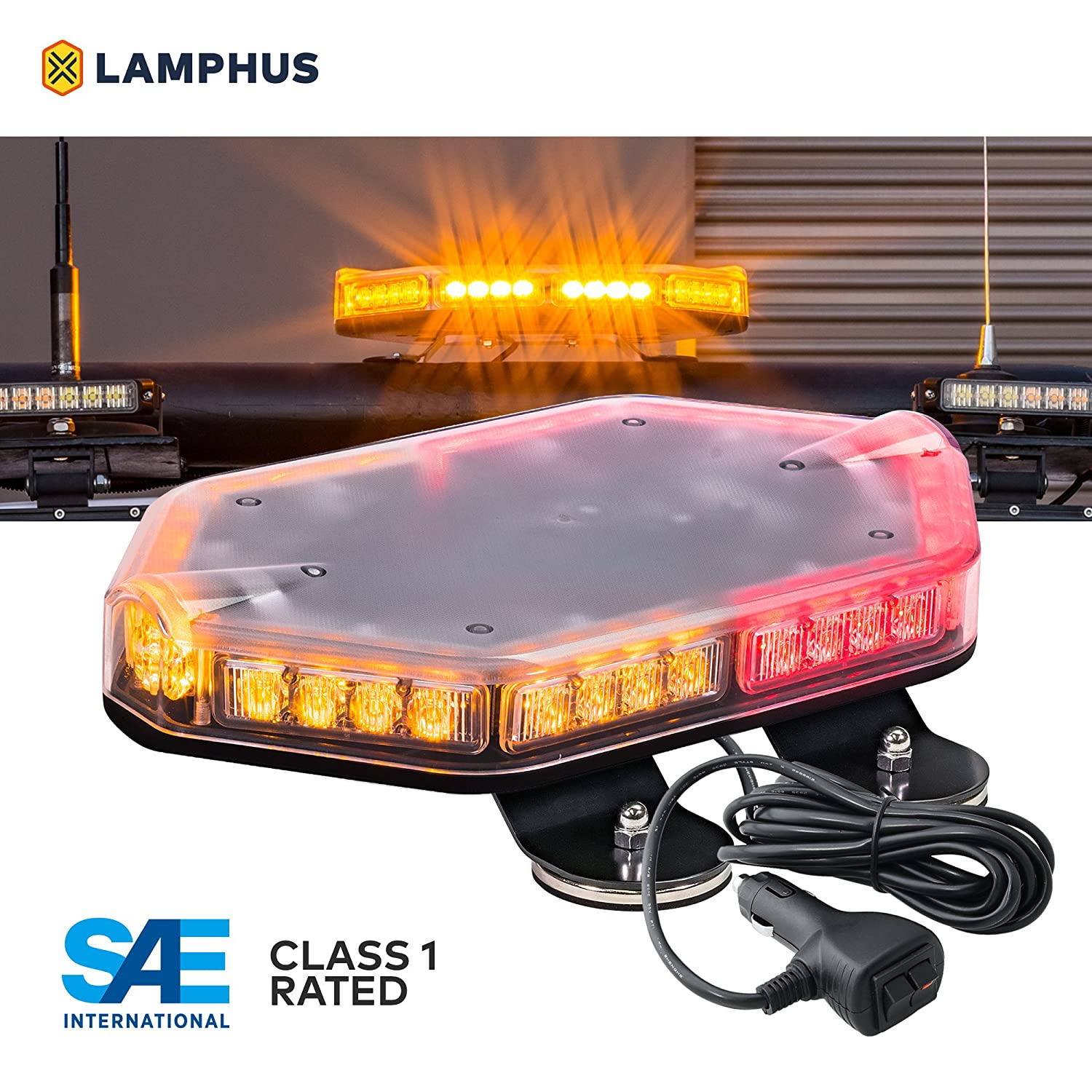 LAMPHUS NanoFlare NFMB56 17' 56W LED Mini Light Bar [SAE Class 1] [63 Flash Patterns] [12ft Cord] [Magnet/Permanent Mount] Emergency Strobe Hazard Warning Light - Amber