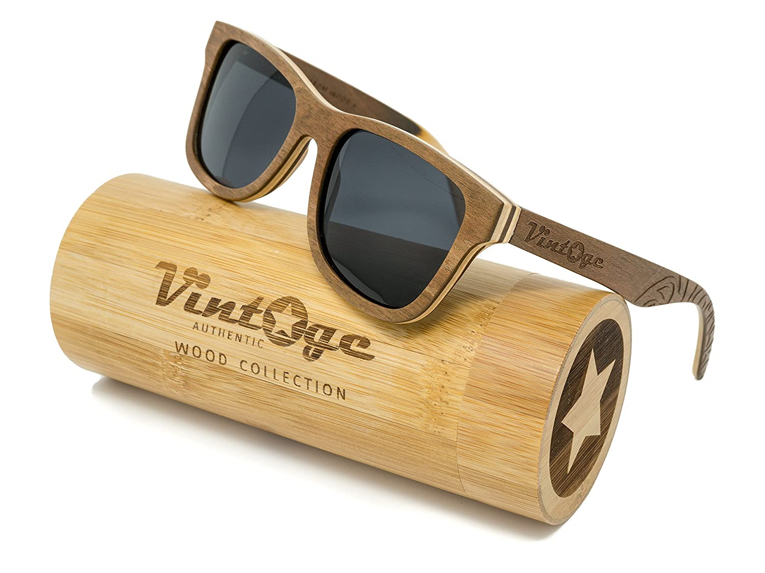 493f4845720 Amazon.com  Maple Cherry Wood Sunglasses for Men   Women - Polarized  handmade wooden wayfarer style shades that float!  Sports   Outdoors