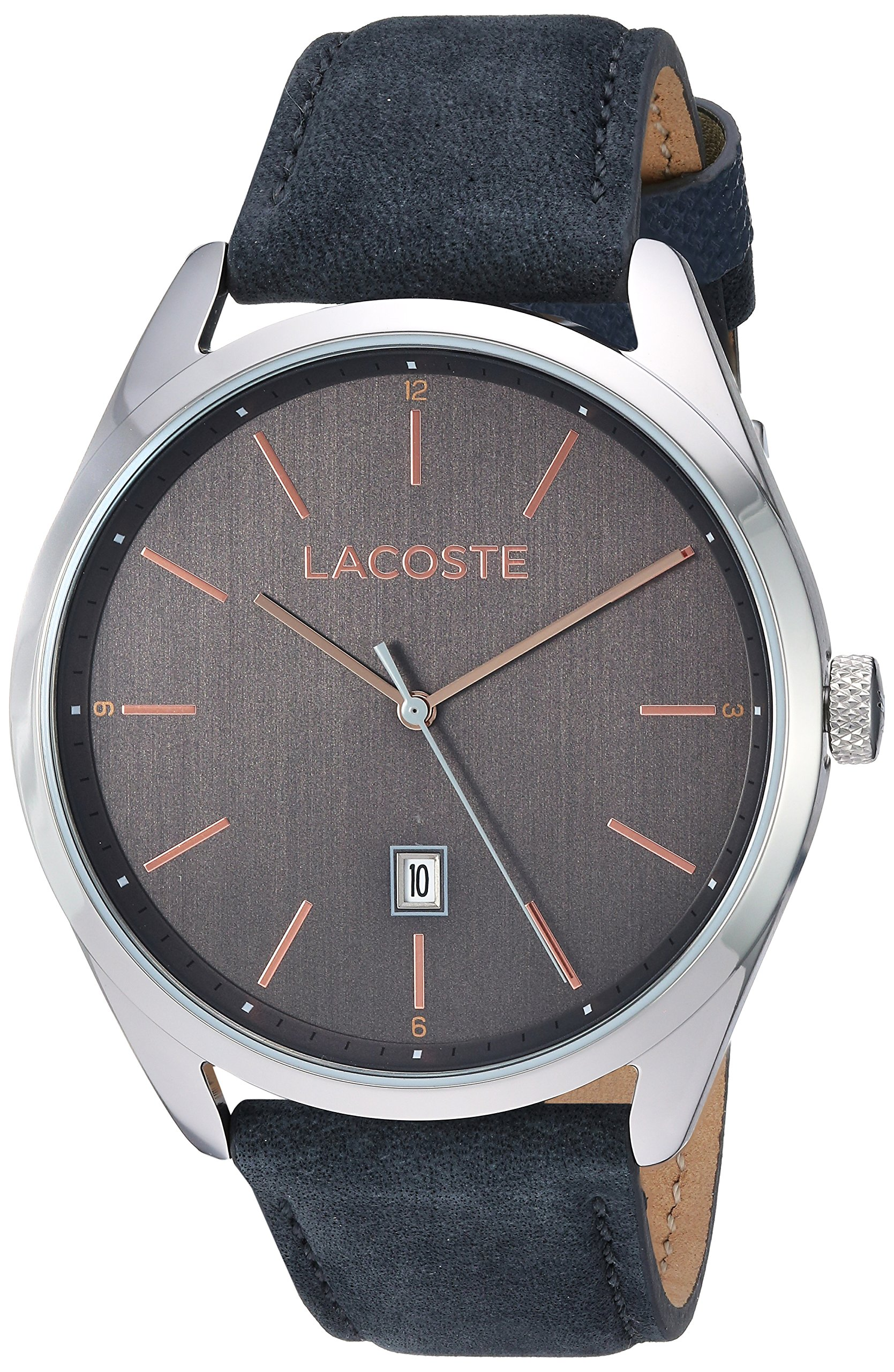 Lacoste Men's San Diego Stainless Steel Quartz Watch with Suede Strap, Grey, 22 (Model: 2010911) by Lacoste