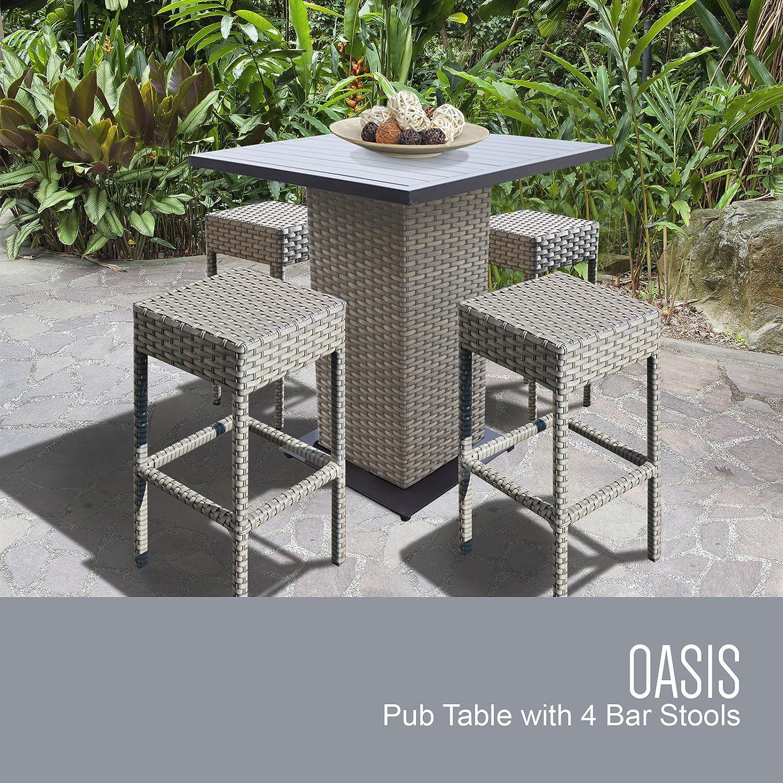 TK Classics Pub-Backless-4 Florence Bar Furniture Dining Set, Grey Stone