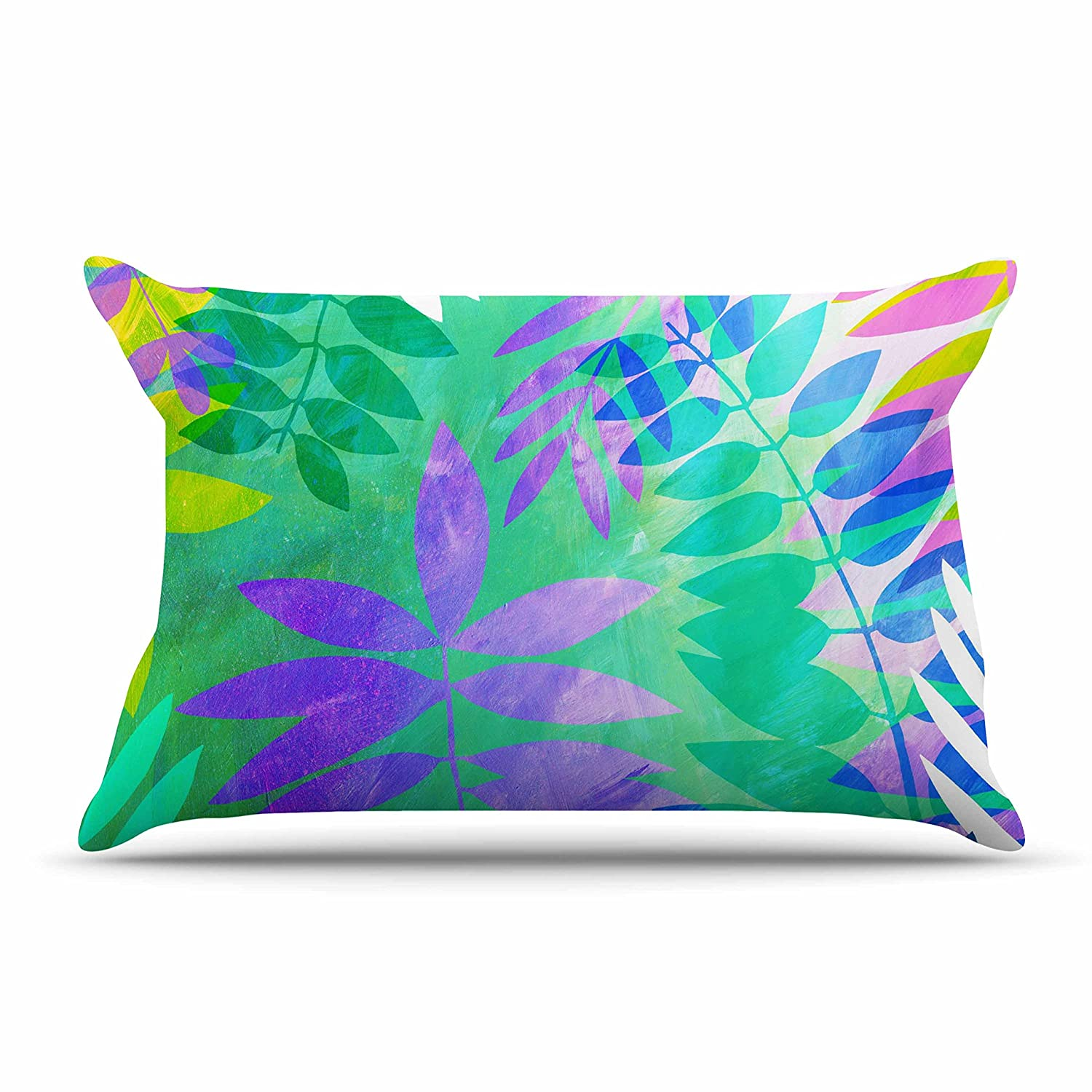 Kess InHouse Jessica Wilde Jungle Teal Purple Standard Pillow Case 30 by 20-Inch 30 X 20