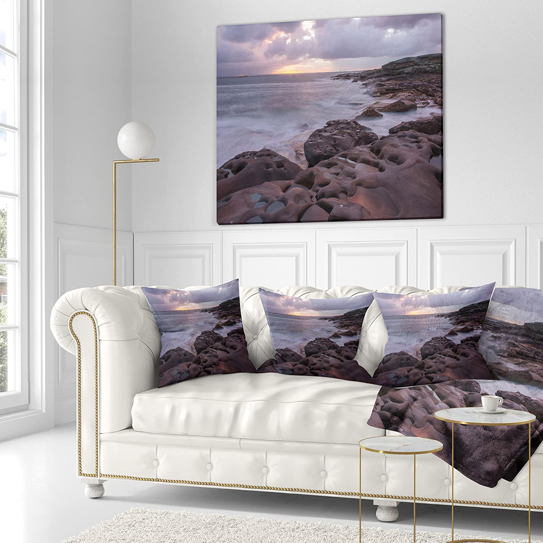 Designart CU10204-26-26 Dark Australian Large Rocks Seashore Cushion Cover for Living Room Sofa Throw Pillow 26 in x 26 in Insert Printed On Both Side in