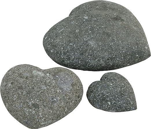 STONE art & more Corazones Juego de 3, 10 cm, 15 cm, 20 cm, Verde, Piedra Natural Piedra volcánica, Resistente a Las heladas.: Amazon.es: Jardín