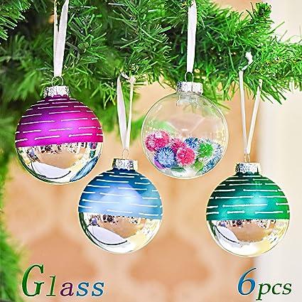 Christbaumkugeln Glas Bunt.Valery Madelyn 6 Stucke 8cm Weihnachtskugeln Glas Bunt Christbaumkugeln Setmit Aufhanger Weihnachtsbaumschmuck Weihnachten Dekoration