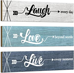 Jetec 3 Pieces Rustic Wood Arrow Sign Wall Decor Home Family Love Live Sign, Farmhouse Wall Mount Decoration for Home Office Wedding Kitchen and Living Room, 12 x 3 x 0.2 Inch (Blue Series)