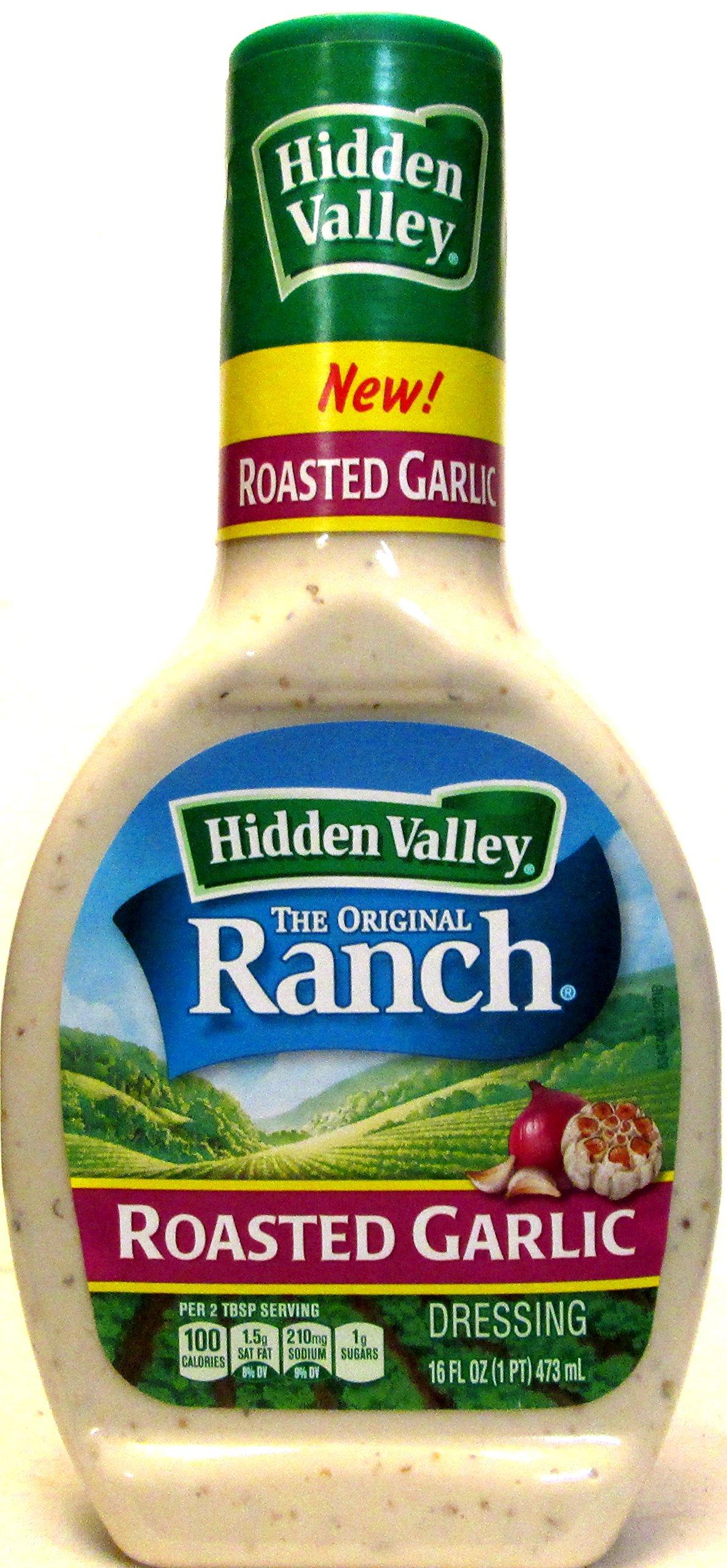 Hidden Valley Roasted Garlic Dressing (Pack of 2) 16 oz Bottles