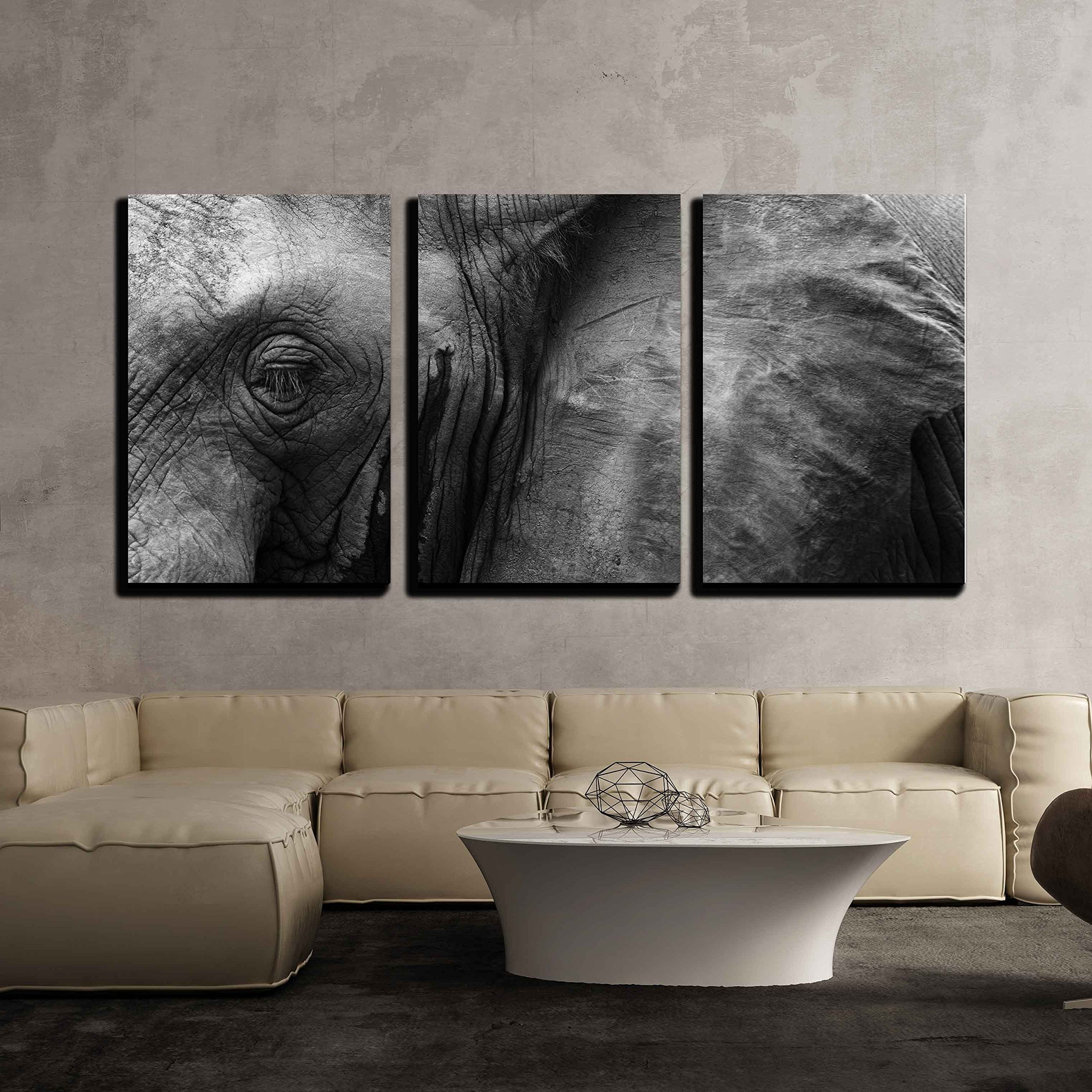wall26 - 3 Piece Canvas Wall Art - Close Up Detail of an African Elephant Eye and Ear - Modern Home Decor Stretched and Framed Ready to Hang - 16''x24''x3 Panels