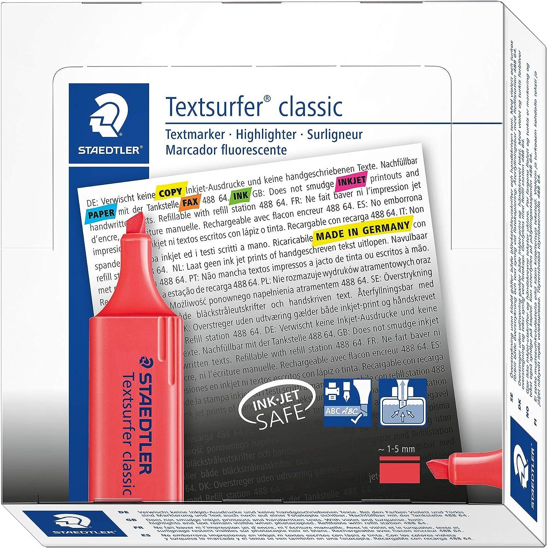 STAEDTLER 364-2 - Pack de 10 marcadores fluorescente, color Rojo: Amazon.es: Oficina y papelería