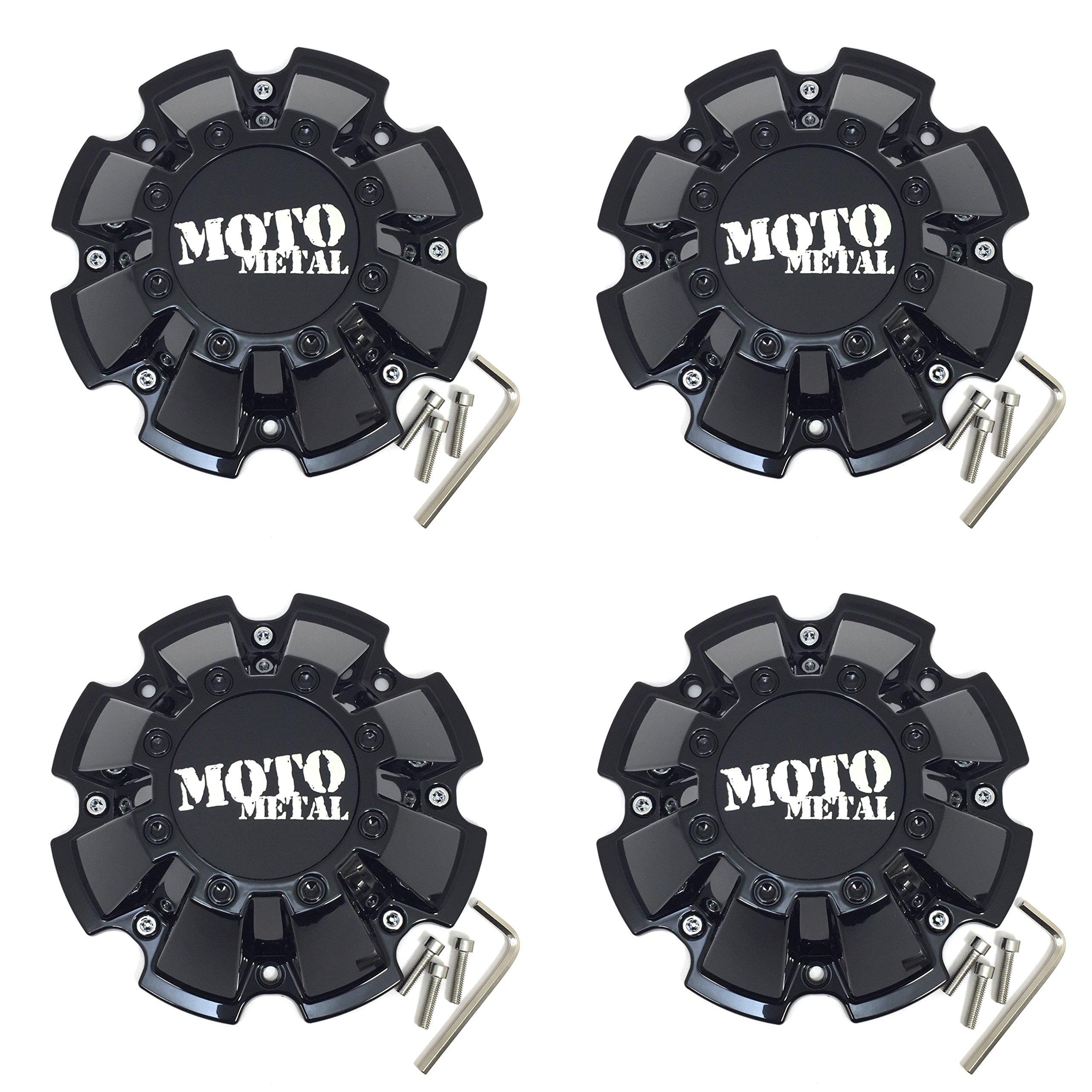 Set (4pcs) Moto Metal Gloss Black Wheel Center Hub Cap 8. 5'' 8 Lug for MO200 MO962 Rims