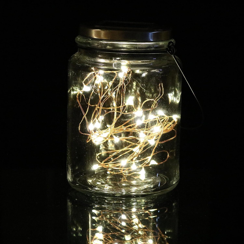 Kupfer Draht Glas Lampe mit 30 Micro LED-Lichter Garten-Hochzeit ...