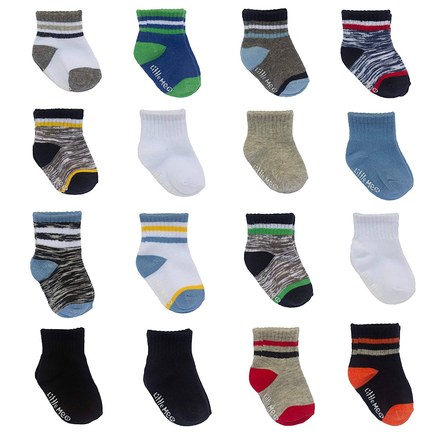 Little Me 16 Pair Baby Boy Socks 8X 0//12M /& 8X 12//24M Variety Pack