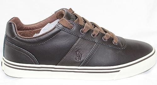 Ralph Lauren Polo Hanford cuero marrón oscuro zapatillas deportivas retro clásico NUEVO (44)