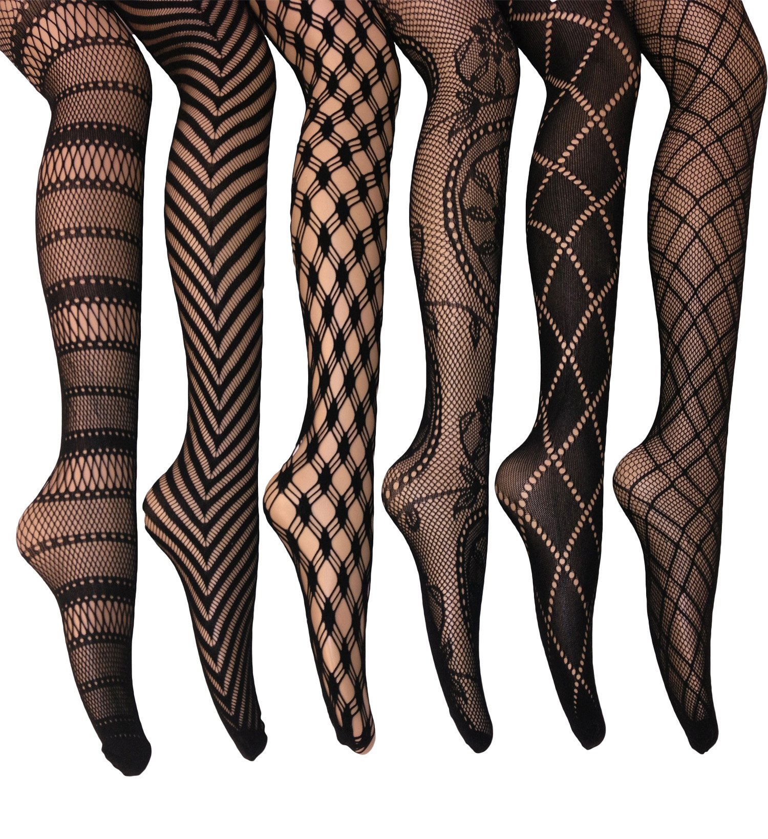Frenchic Fishnet Lace Stocking Tights Extended Sizes (Pack of 6) (S/M), Black