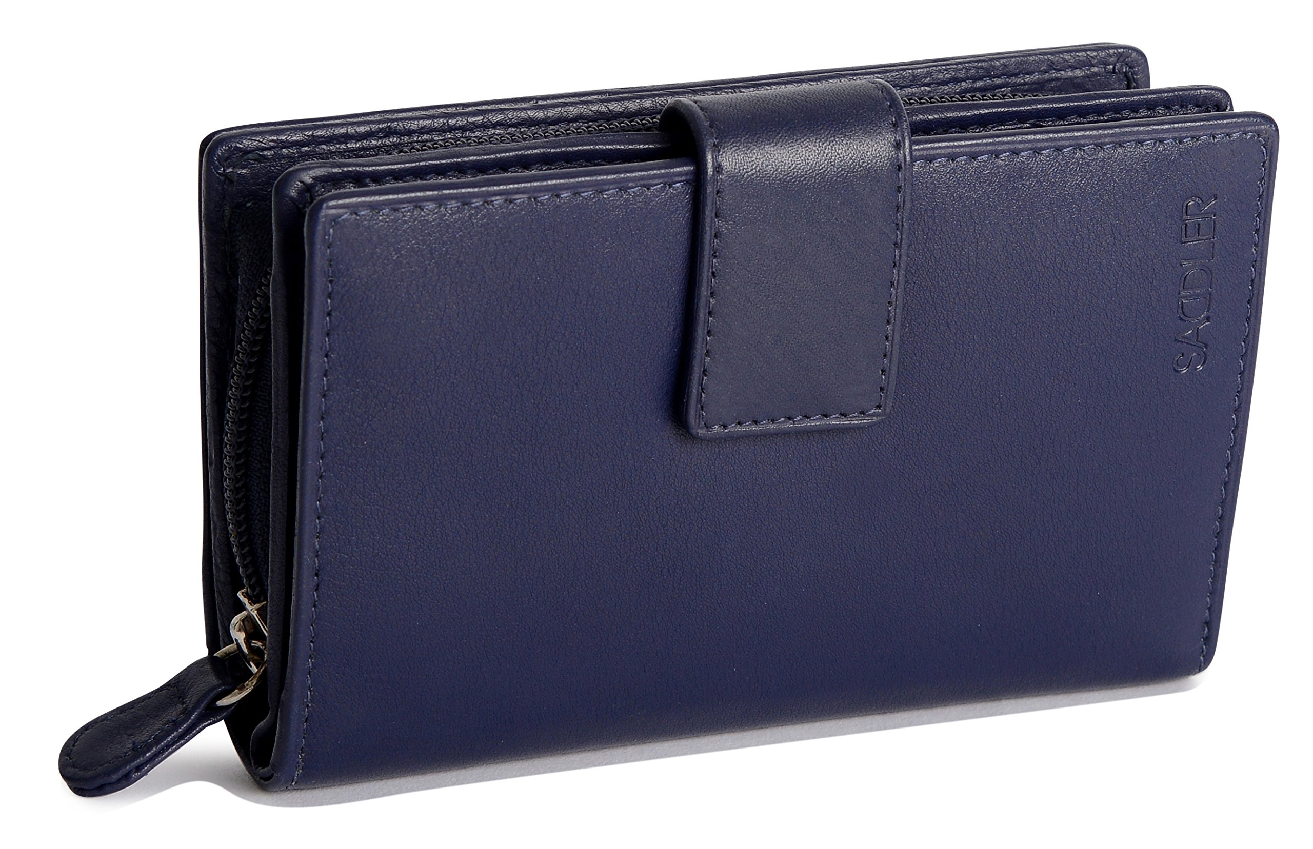 SADDLER Womens Leather High Volume Womens Tab Wallet Zipper Purse - Peacoat Blue