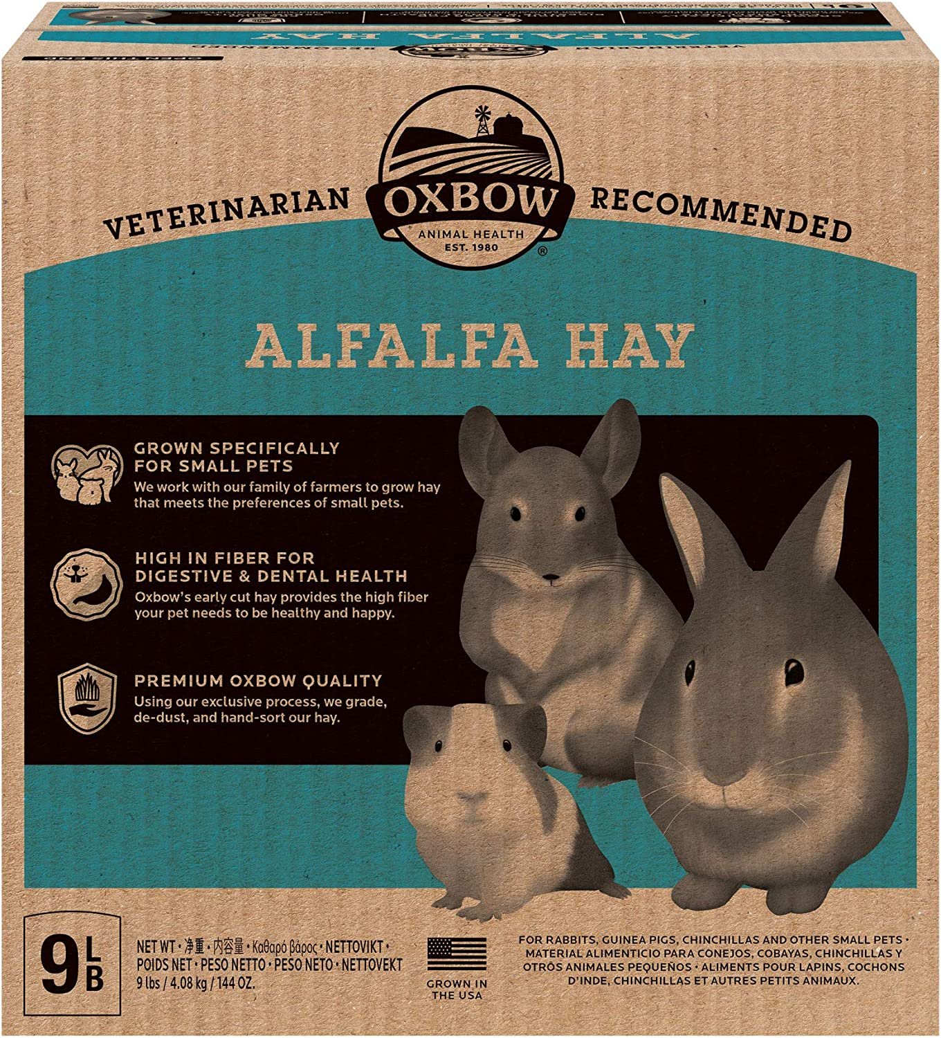 Oxbow Animal Health Alfalfa Hay - All Natural Hay for Young, Pregnant, or Nursing Small Pets - 9 lb.