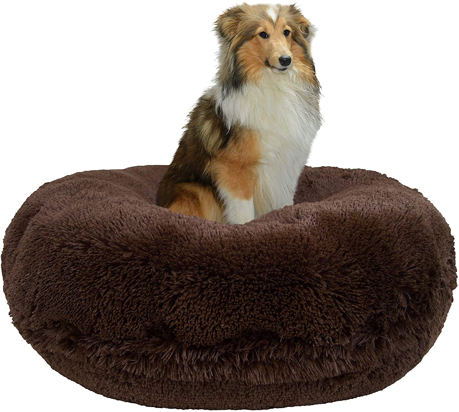 Bessie and Barnie Signature Grizzly Bear Luxury Shag Extra Plush Faux Fur Bagel Pet Dog Bed Multiple Sizes