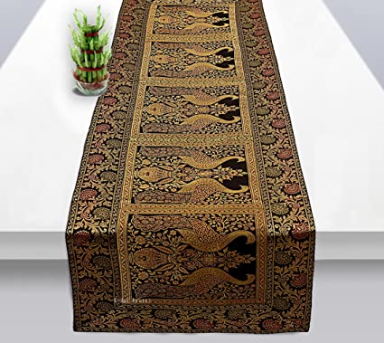 Osian Krafts Black Brocade & Polyester Satin Ethnic Table Runner for Dining Table 60x16 Inches, Single Pc