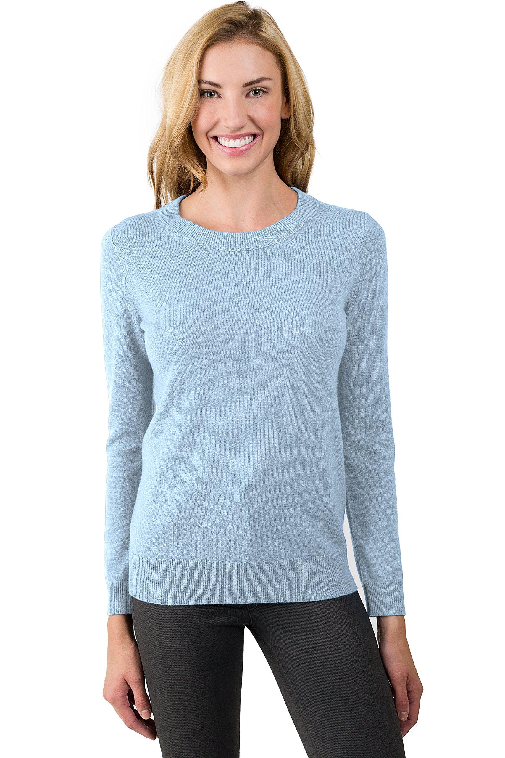 JENNIE LIU Women's 100% Pure Cashmere Long Sleeve Crew Neck Sweater (XL, Sky)