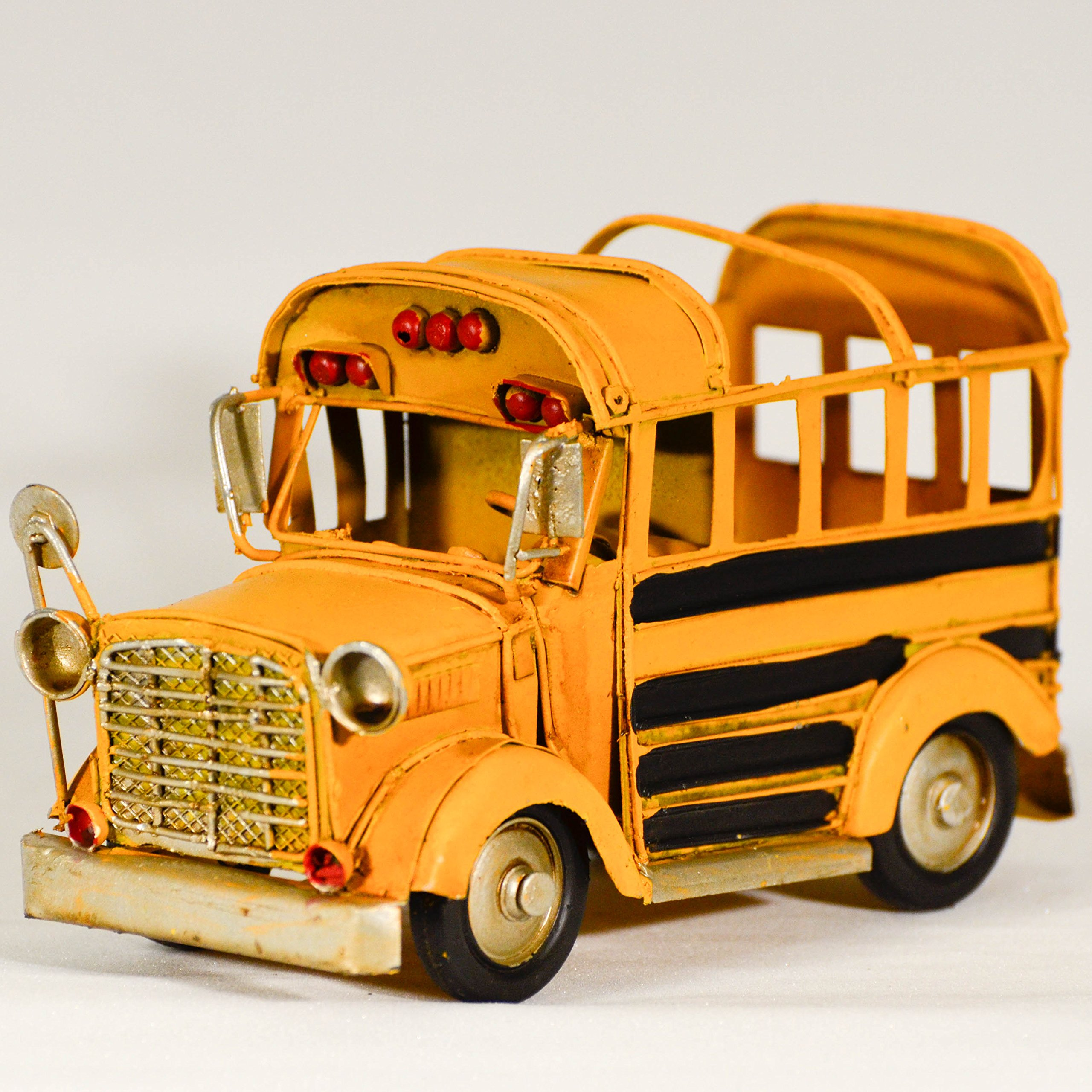 EliteTreasures Back To School Metal Yellow 1980 Vintage Style Collectible School Bus Model - Retro Pencil Case - Old School Vehicle - Industrial Decor Miniature