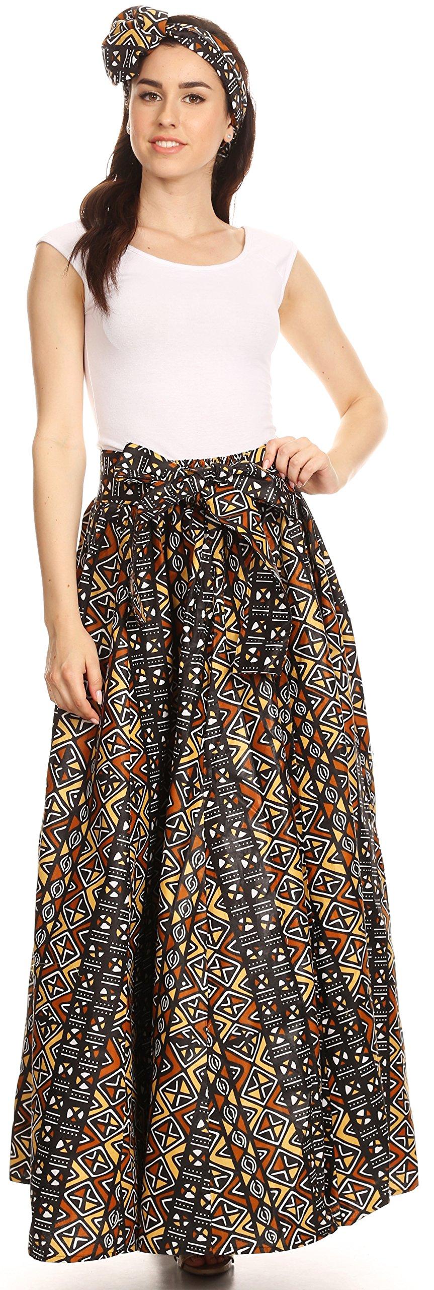 Sakkas 16317 - Asma Convertible Traditional Wax Print Adjustable Strap Maxi Skirt   Dress - 1122-BlackMulti - OS