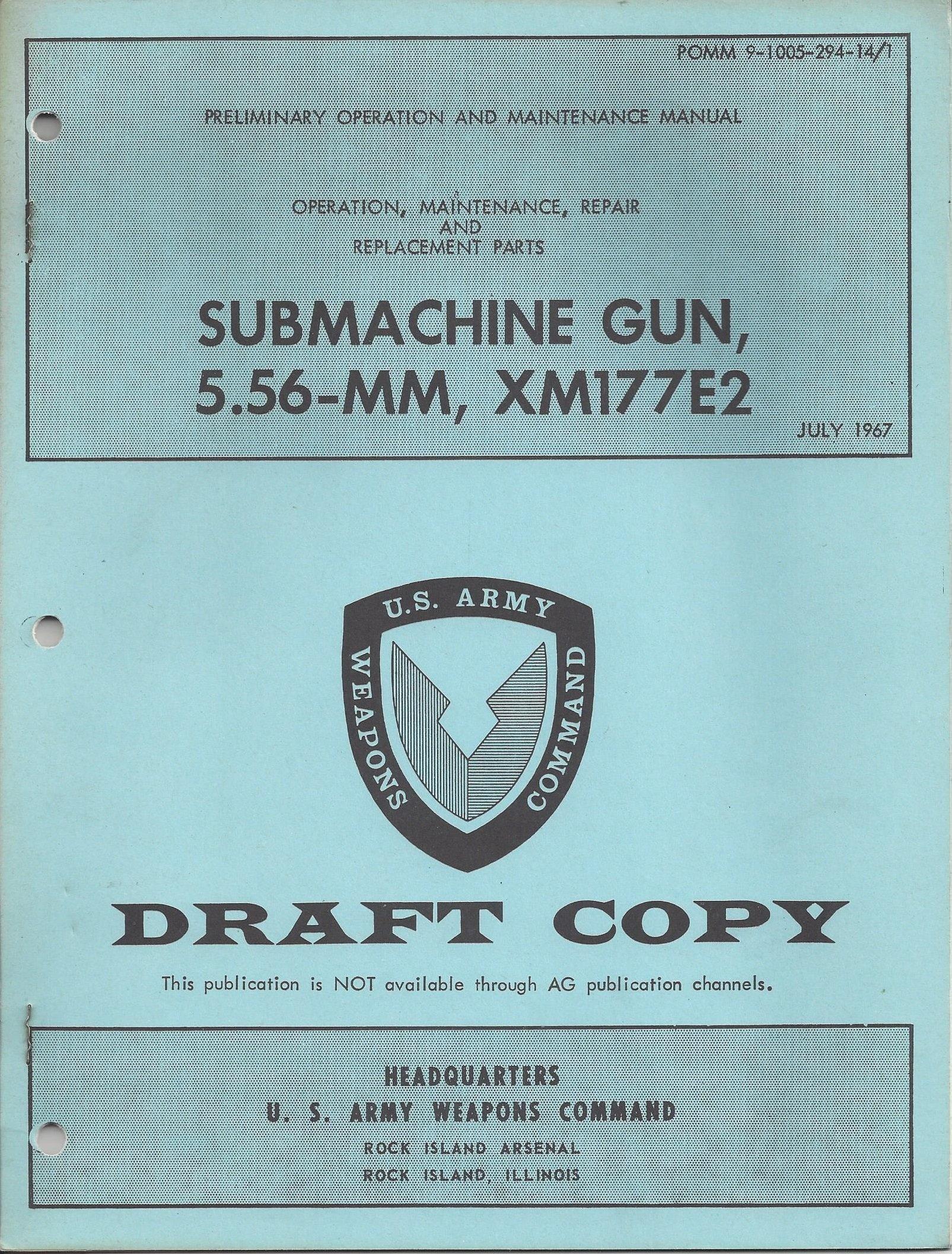 XM177E2 book Rock Island Arsenal operation maintenance repair 5.56-mm Sub