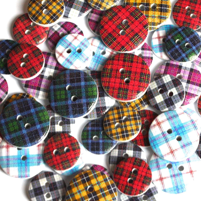 Various Designs//Colours Scottish Tartan Buttons Size 15mm