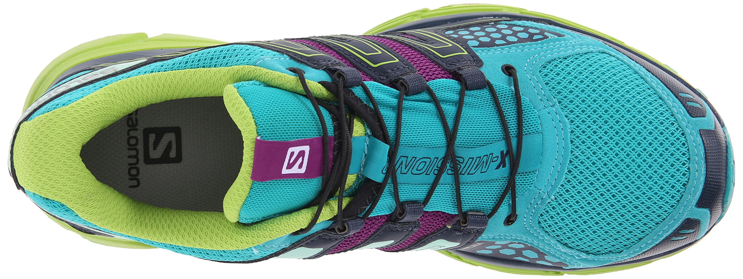 Salomon Women's X-Mission 3 W Trail Running Shoe, Teal Blue/Granny Green/Passion Purple, 7.5 B US by Salomon (Image #8)