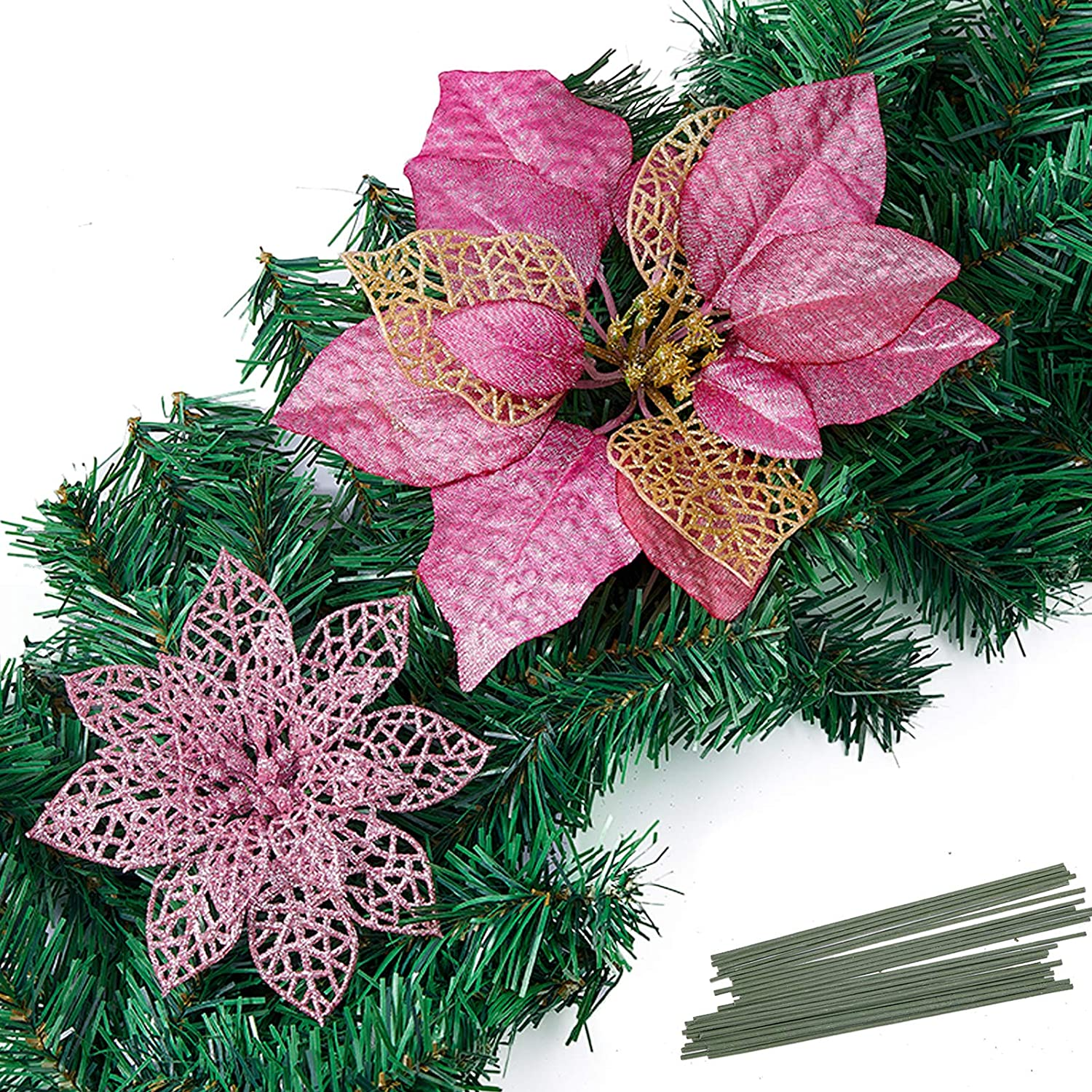 Christmas Poinsettia Ornament, Glitter Christmas Tree Decoration, Artificial Poinsettia Flower Xmas Holiday Home Decor, Pack of 24, Pink