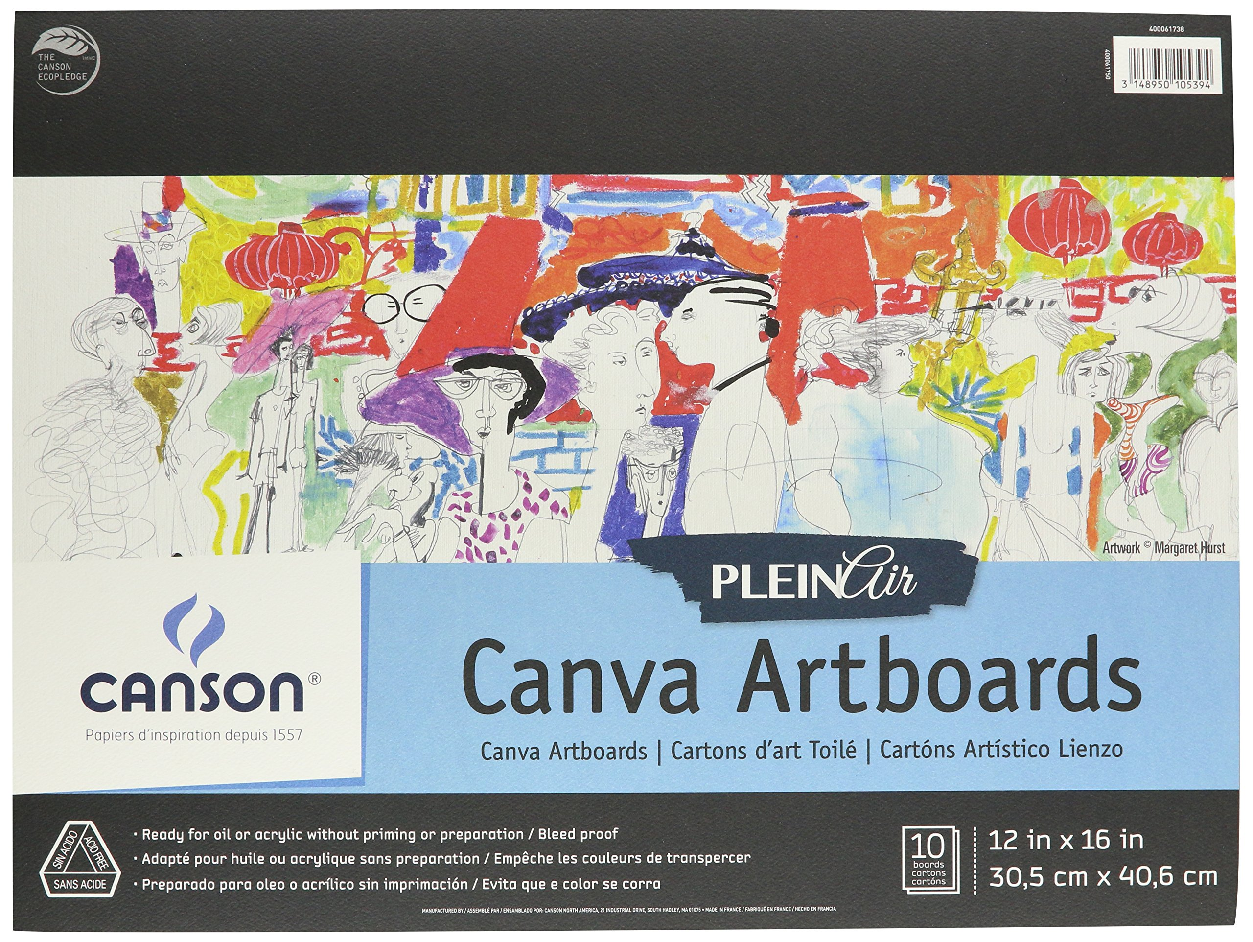 Canson Plein Air Canva Rigid Art Boards for Paints or Sticks, Oil and Acrylic, 12 x 16 Inch, Set of 10 Boards