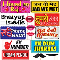 WOBBOX Bollywood Style Wedding Party Prop Laser Cut Photo Booth Props DIY Kit for Party (15 Pcs)