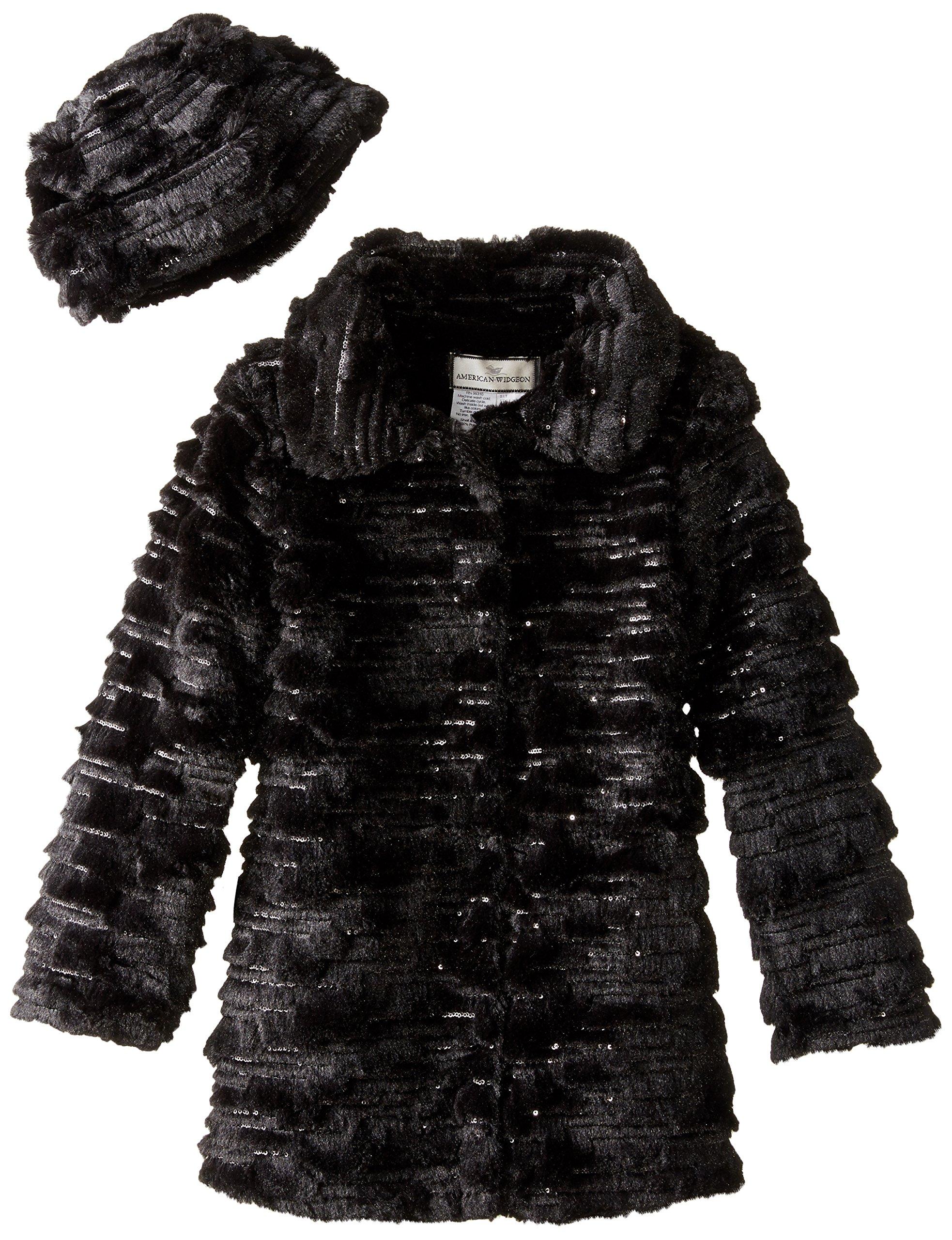 Widgeon Big Girls' Sequin Sparkle Coat with Hat, Sequin Black, 10