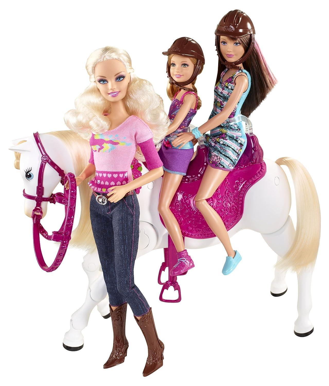mattel v6984 poupes mannequins barbie et son cheval trotteur amazonfr jeux et jouets - Barbie Cheval