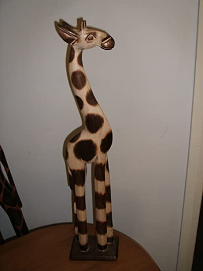 Wooden Giraffe 120cm Tall Hand Finished Amazoncouk Kitchen Home