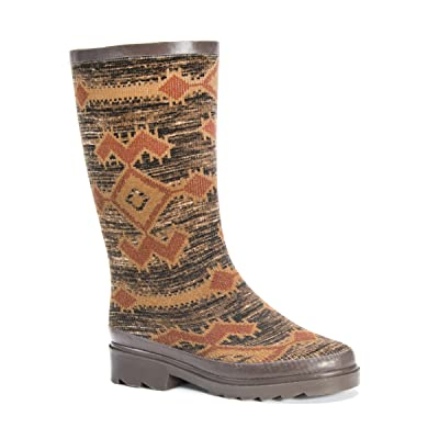 MUK LUKS Women's Anabelle Rainboots Rain Shoe, Brown, 8 Medium US | Mid-Calf
