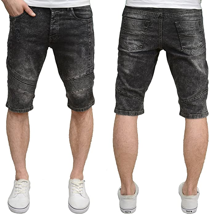 Enzo Mens Designer Branded Slim Fit Abraised Acid Wash Denim Shorts /…