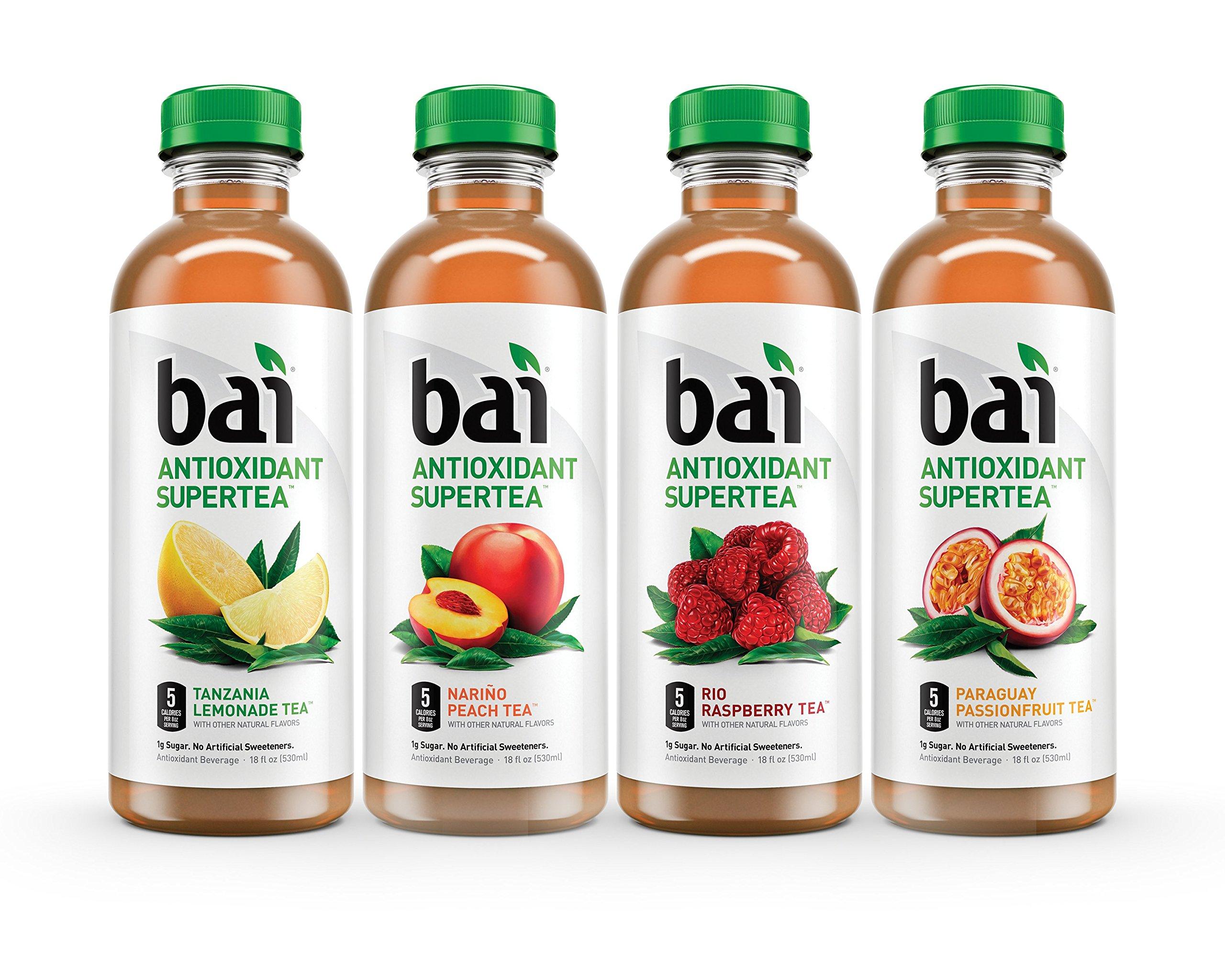 Bai Supertea Variety Pack, Antioxidant Infused Supertea, 18 Fluid Ounce Bottles, 12 count, (3 bottles each of Tanzania Lemonade Tea, Paraguay Passionfruit Tea, Rio Raspberry Tea, Narino Peach Tea)