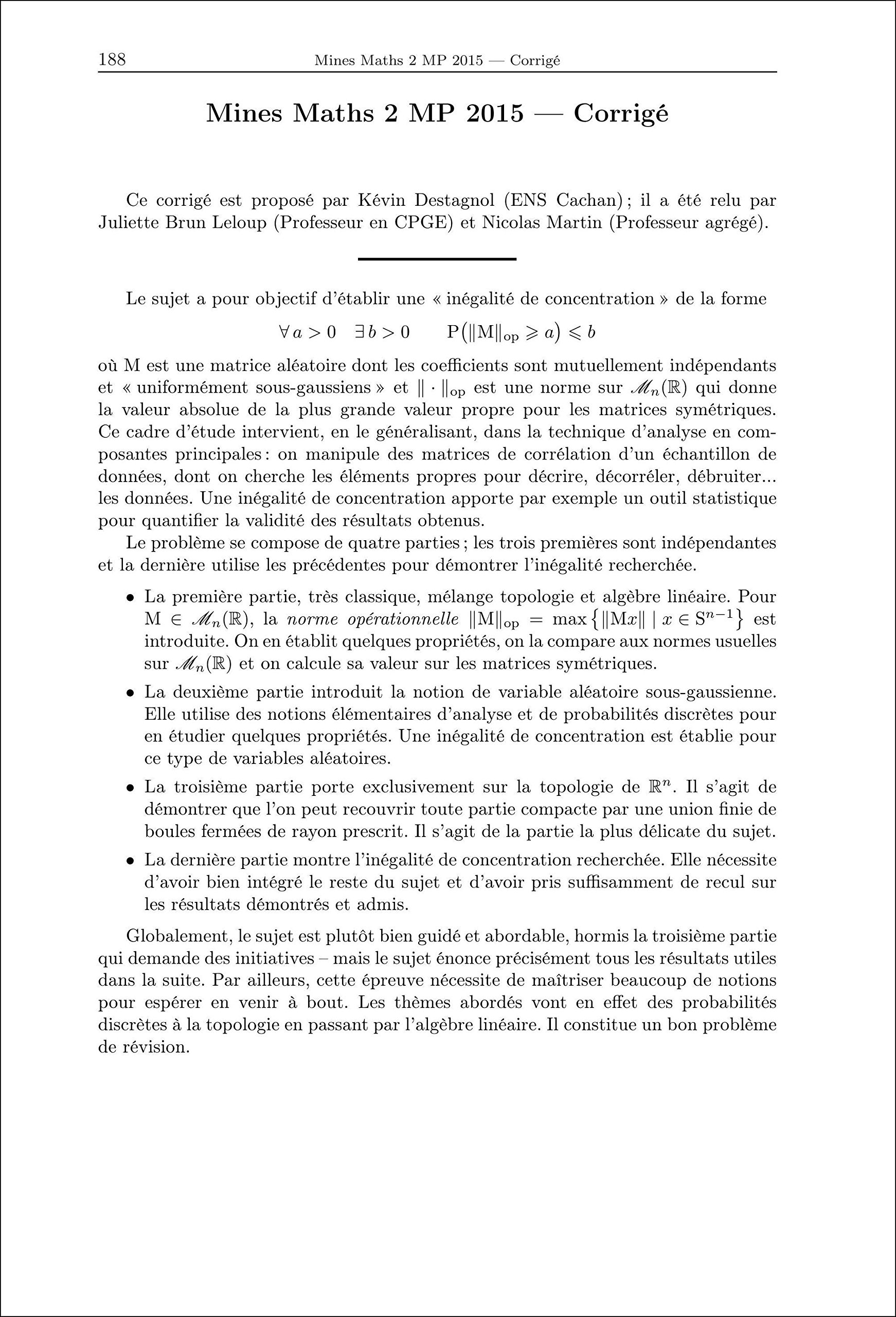 2015 Annales des Concours Mp Mathematiques et Informatique: 9782351413197: Amazon.com: Books