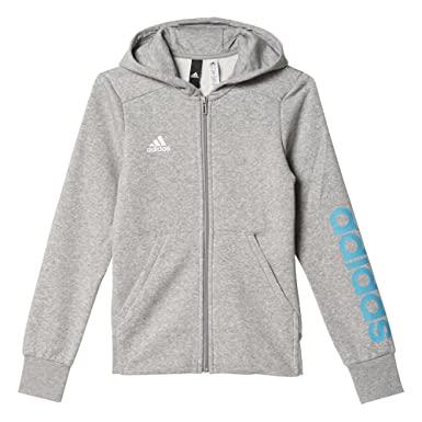 adidas Girls' Yg Linear Full Zip Hd Sweatshirt: Amazon.co.uk