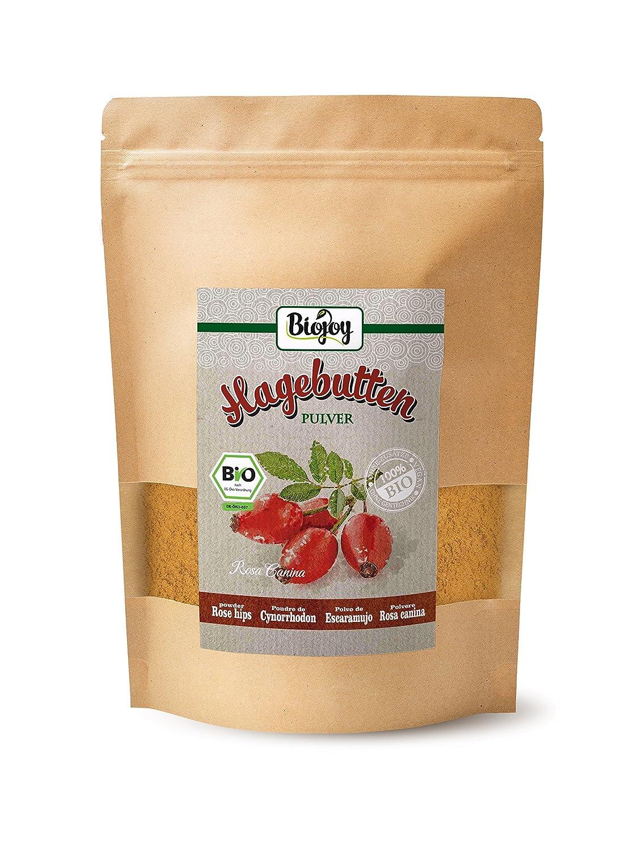 Biojoy Polvo de Escaramujo BIO | 100% Frutos Rosa canina en polvo | calidad premium natural de alimento vegetal crudo de escaramujos molidos | sin ...