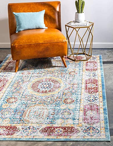 Unique Loom Austin Collection Geometric Medallion Over-Dyed Vintage Blue Area Rug 10' 0 x 13' 0