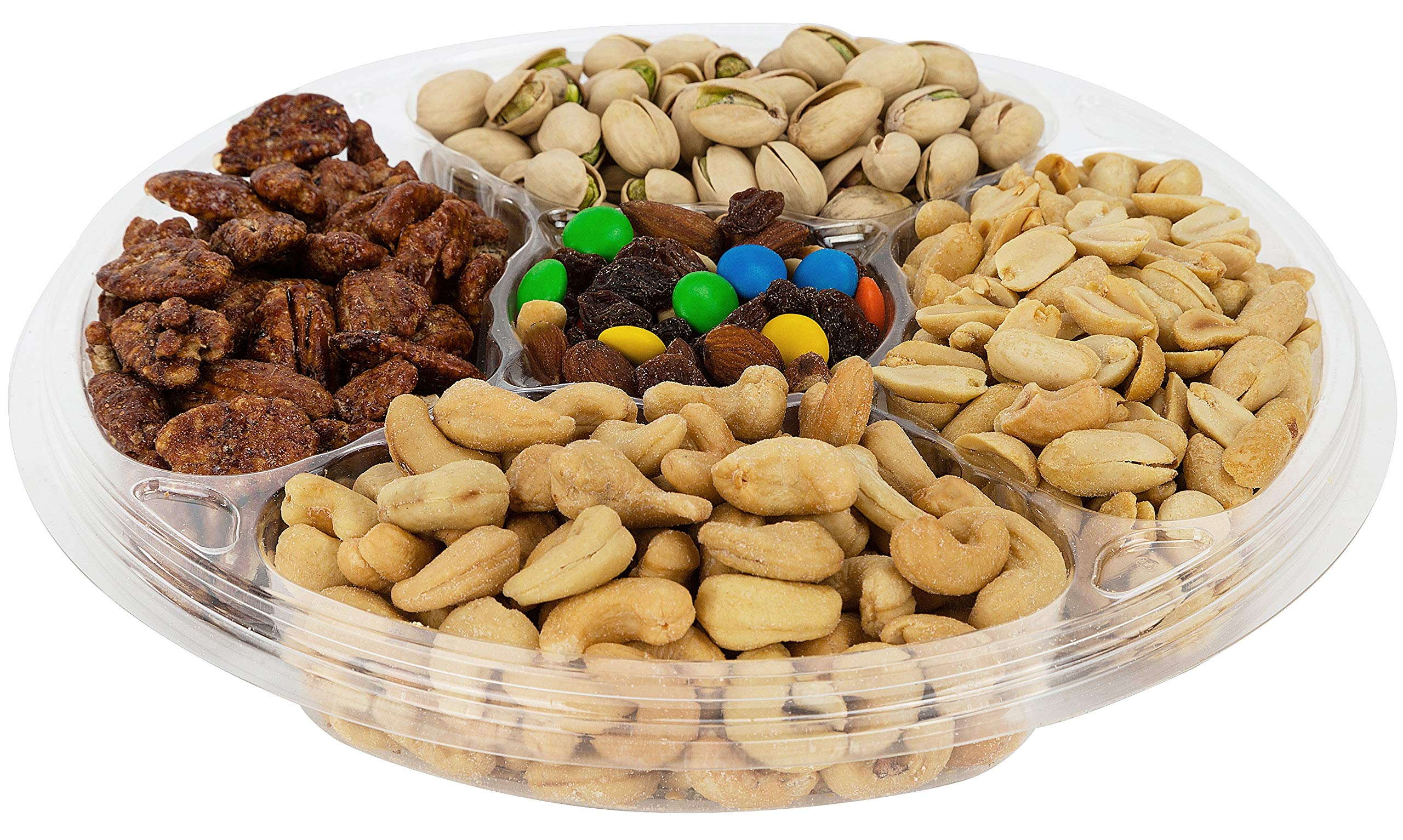 Choconuts Assorted Fresh Roasted Nut Gift Basket, Five Sectional Over 2 LB Gourmet Nut Tray, Great All Time Healthy Gift Box for Fathers Day, Get Well Gift, Sympathy Basket, Hostess Gift