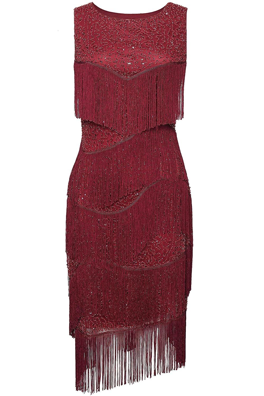 con Frange Multistrato Abito da Sera Gatsby Cocktail Party Coucoland 1920s Vestito da Donna Elegante Stile retr/ò Costume da Carnevale Anni 20 Scollo Rotondo