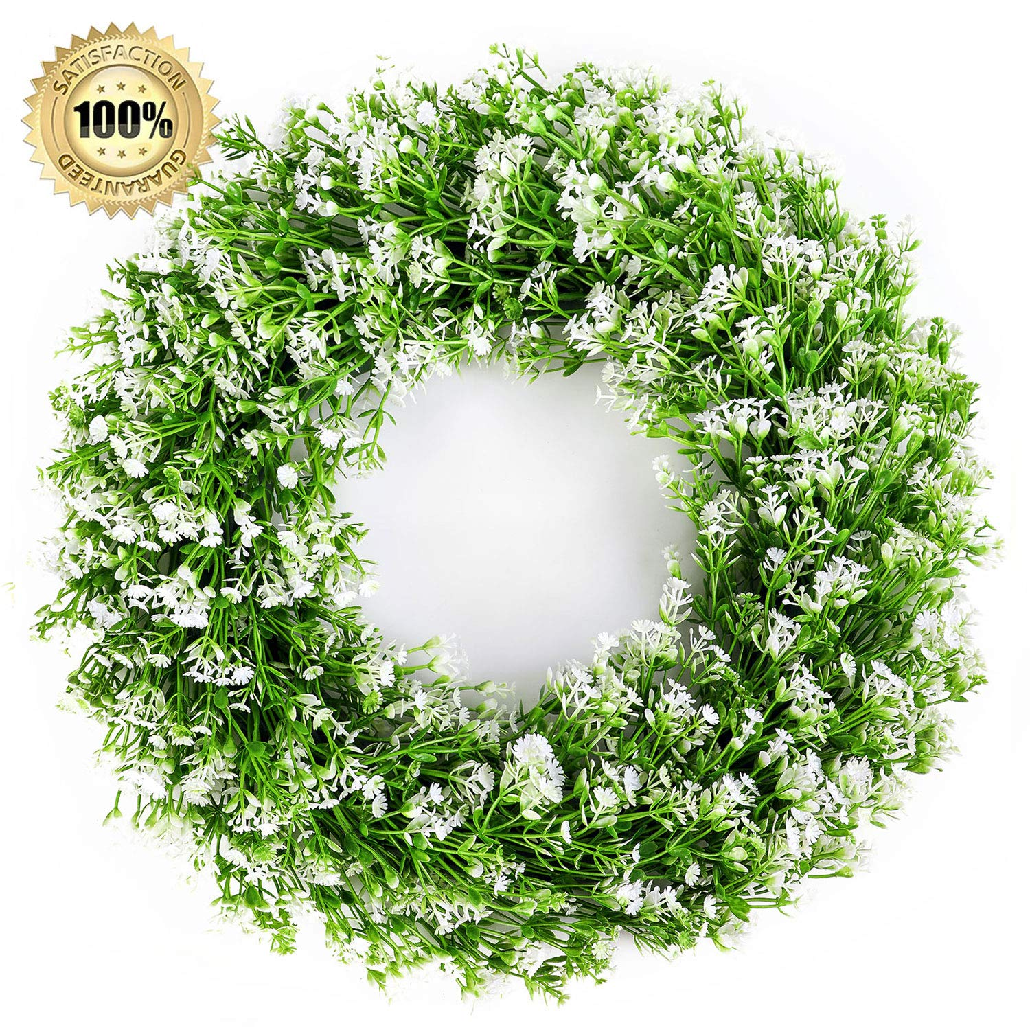 LASPERAL 14 Artificial Green Leaves Wreath Eucalyptus Wreath Boxwood Wreath Round Green Wreath Outdoor Green Wreath Front Door Wall Window Party D/écor