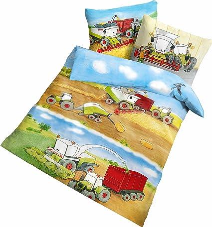 2 x Baby-Bettwäsche-Sets 100x135 Traktor Baustelle Trecker Kinder-Bettwäsche-Set
