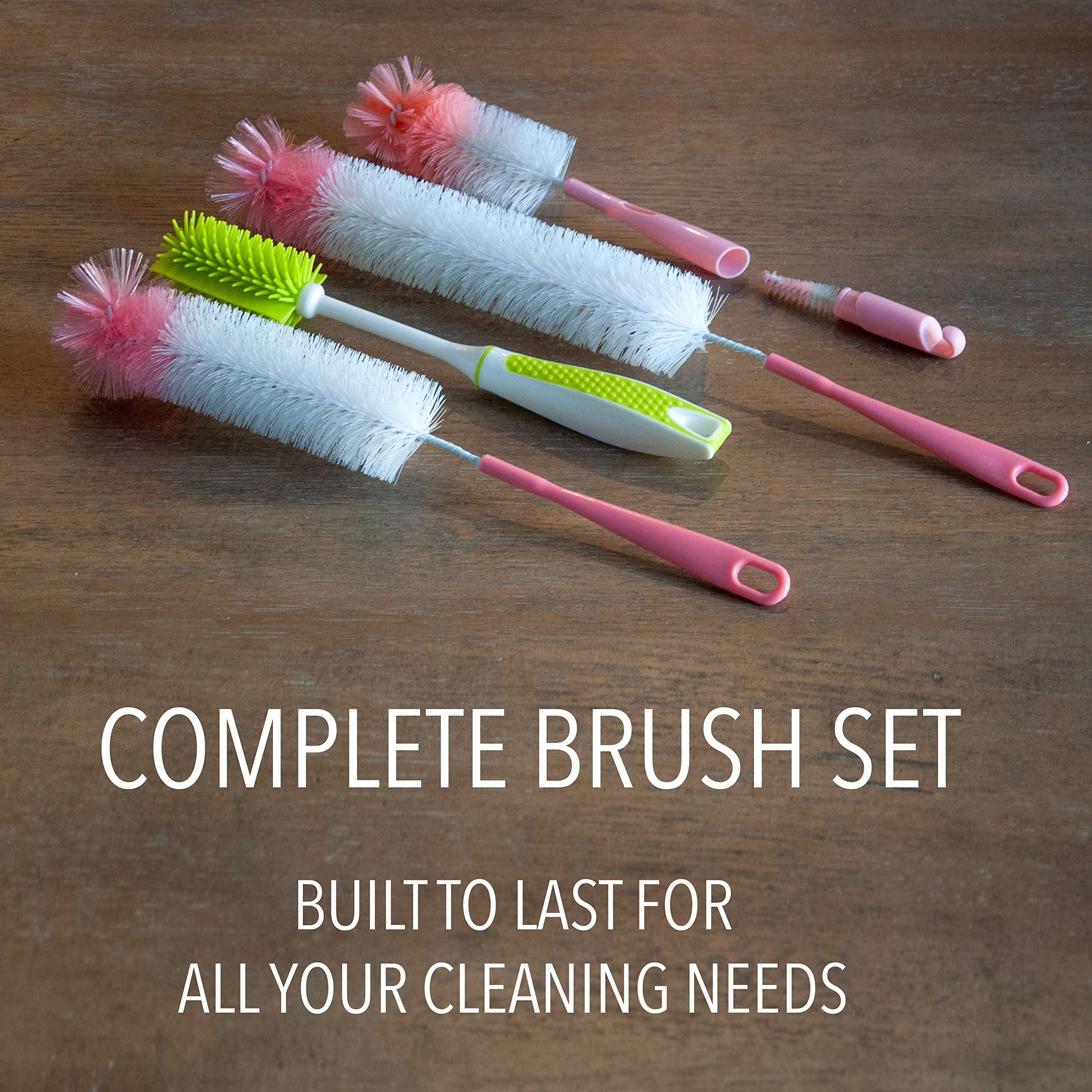 Bottle Brushes for Cleaning - 4 Pcs of Silicone and Vinyl Tube Bottle Brush Set | Nipple Cleaning Brush, Narrow Neck Bottle Brush, Long Handle, BPA Free, Dishwasher Safe by Innovative Technology Products Corp (Image #1)